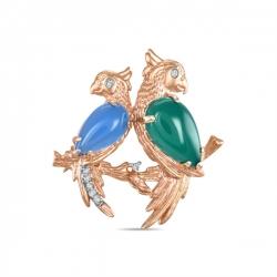 Золотая брошка Птицы c агатами и бриллиантами
