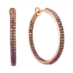 Серьги из розового золота 585 пробы с сапфирами и бриллиантами