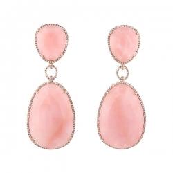 Серьги из розового золота 585 пробы с опалами и бриллиантами