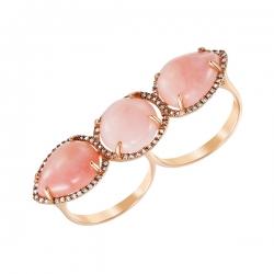 Кольцо из розового золота 585 пробы с опалами и бриллиантами