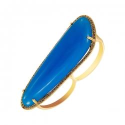 Кольцо из золота 585 пробы с агатом и бриллиантами