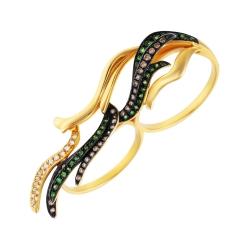 Кольцо из золота 585 пробы с бриллиантами и цаворитами