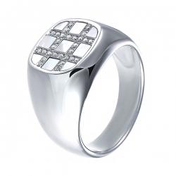 Кольцо из белого золота 585 пробы с бриллиантами и перламутром