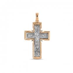 Золотой мужской крестик c фианитами