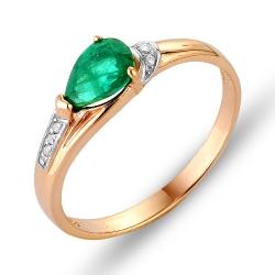 Кольцо из красного золота с изумрудом, бриллиантами