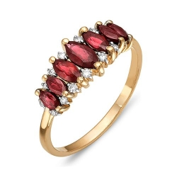 Кольцо из красного золота с бриллиантами, рубинами