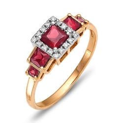 Кольцо Геометрия из красного золота с бриллиантами, рубинами