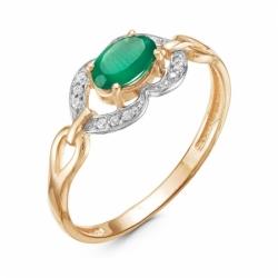 Кольцо из красного золота 585° с бриллиантами, зеленым агатом