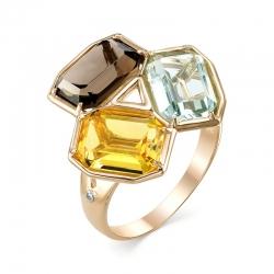 Кольцо из красного золота с кварцами, раухтопазом, фианитами