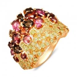 Кольцо из красного золота с гранатами, раухтопазами, родолитами, хризолитами, цитринами