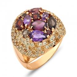 Кольцо из красного золота с раухтопазом, родолитами, гранатами, аметистами, хризолитами, цитринами