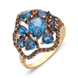 Кольцо из красного золота с раухтопазами, топазом