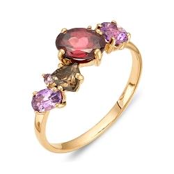 Кольцо из красного золота с аметистами, родолитами, раухтопазом