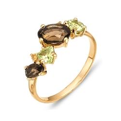 Кольцо из красного золота с цитринами, раухтопазом, хризолитами