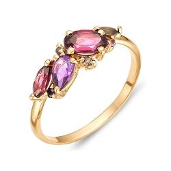 Кольцо из красного золота с родолитами, аметистами, раухтопазами