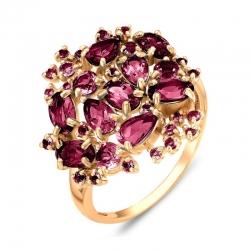 Кольцо из красного золота с раухтопазами, родолитами