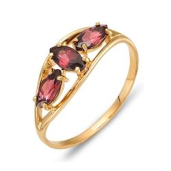Кольцо из красного золота с родолитами