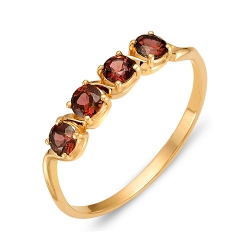 Кольцо из красного золота с гранатами