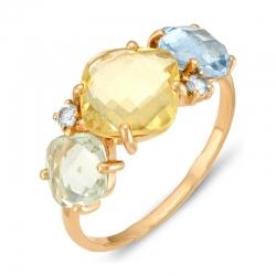 Кольцо из красного золота с аметистом, топазом, цитрином