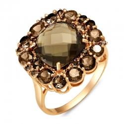 Кольцо из красного золота с раухтопазами