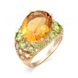 Кольцо из красного золота с султанитами, хризолитами, цитрином