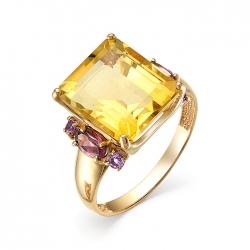 Кольцо из красного золота с цитрином, родолитами, аметистами