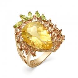 Кольцо из красного золота с цитрином, султанитами, хризолитами
