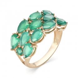Кольцо из красного золота с зелеными агатами