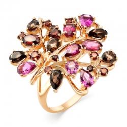 Кольцо Лист из красного золота с цветными камнями