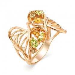 Кольцо из красного золота с султанитами, хризолитами, цитринами