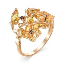 Кольцо из красного золота с раухтопазами, цитринами, султанитом