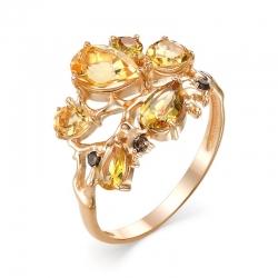Кольцо из красного золота с раухтопазами, султанитом, цитринами