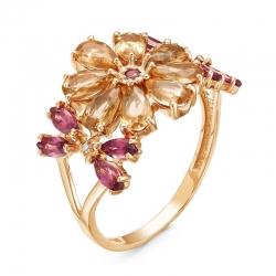 Кольцо из красного золота с родолитами, султанитами, фианитами