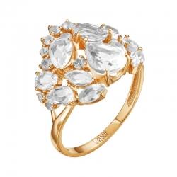 Кольцо из красного золота с горным хрусталем, фианитами