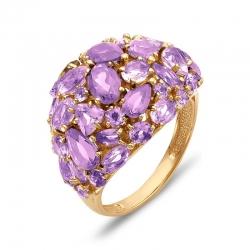 Кольцо из красного золота с аметистами