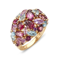 Кольцо из красного золота с родолитами, аметистами, топазом