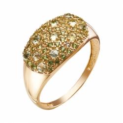 Кольцо из красного золота 585° с фианитами, хризолитами