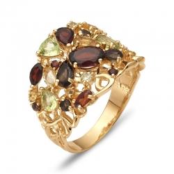Кольцо из красного золота с цитрином, раухтопазом, цитринами, гранатом, раухтопазами, хризолитами, гранатами