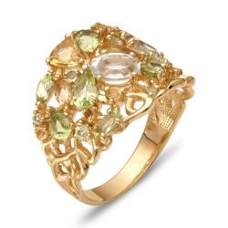 Кольцо из красного золота с цитрином, раухтопазом, цитринами, хризолитами, аметистами