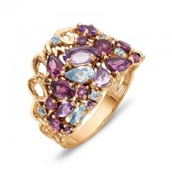 Кольцо из красного золота с аметистами, родолитами, топазом