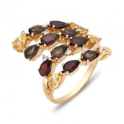 Кольцо из красного золота с гранатами, раухтопазами, фианитами, цитринами