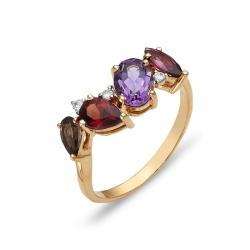 Кольцо из красного золота с родолитами, аметистом, гранатом, раухтопазом, фианитами