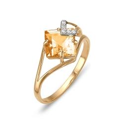 Кольцо из красного золота с цитрином, фианитами