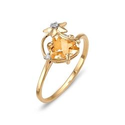 Кольцо из красного золота с фианитом, цитрином, фианитами