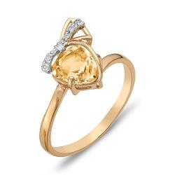 Кольцо Бантик из красного золота с цитрином, фианитами