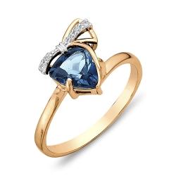 Кольцо с бантиком из красного золота с топазом, фианитами