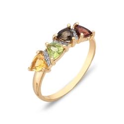 Кольцо из красного золота с гранатом, раухтопазом, фианитами, хризолитом, цитрином