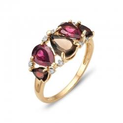 Кольцо из красного золота с раухтопазом, родолитами, гранатами, фианитами
