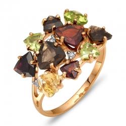 Кольцо из красного золота с гранатами, раухтопазом, хризолитами, цитрином