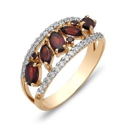 Кольцо из красного золота с гранатами, фианитами
